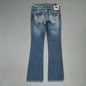 Affliction Low Rise BootCut Jeans Distressed Wash
